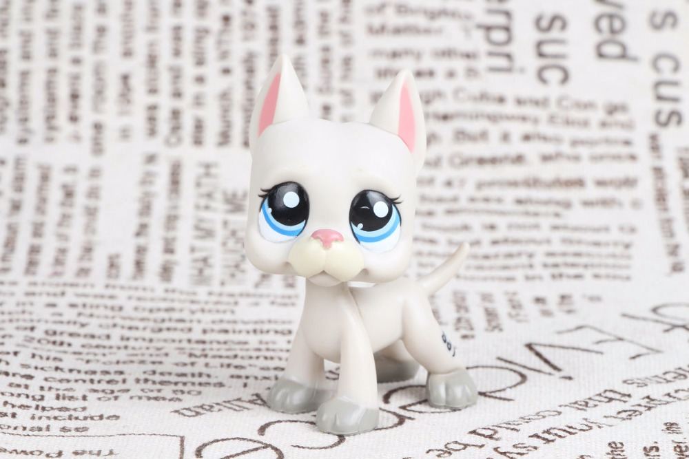 New pet Genuine Original LPS #1688 Grey Great Dane Dog Puppy Blue Eyes Pink Nose Collection figure Toys lps great dane dog 1688 without magnet
