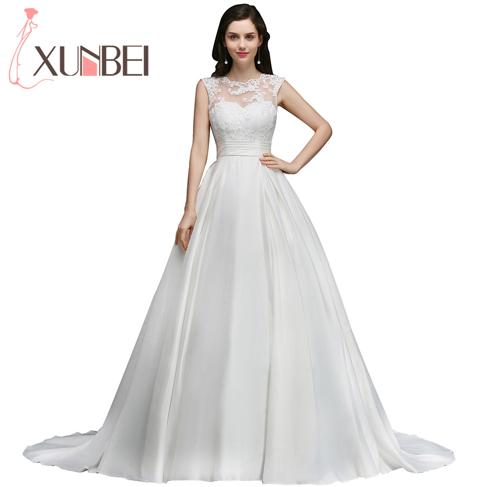 Elegant Princess Lace Ball Gown Wedding Dresses 2017 Sexy Backless Bridal Gown Satin Bride Dress With Sash robe de mariage