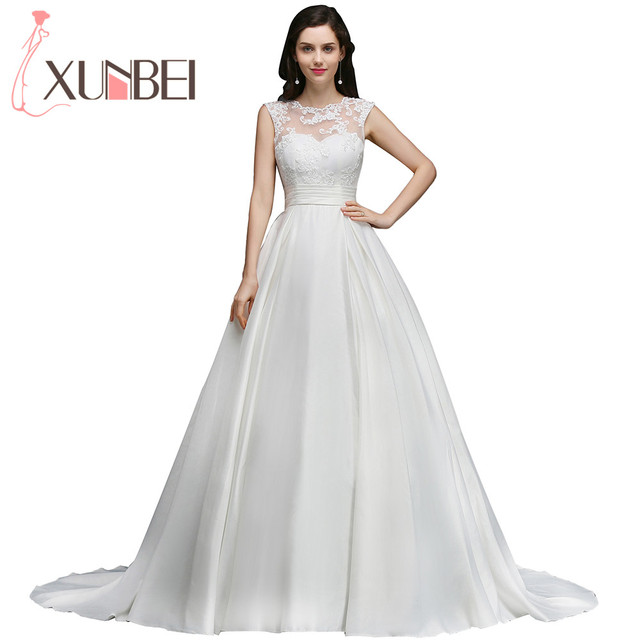Elegant Princess Lace Ball Gown Wedding Dresses 2017 Sexy Backless Bridal  Gown Satin Bride Dress With
