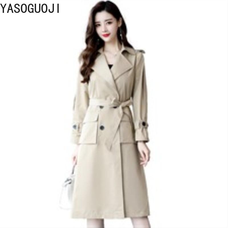 YASUGUOJI New 2019 Spring Fashion Turn-down Collar Double Breasted Slim Womens   Trench   Coats Adjustable Waist Windbreaker L064