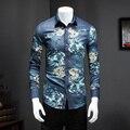 Camisas dos homens Calças de Brim 2017 Primavera Camisa Sociais Slim Fit Camisa Dos Homens coreano Camisa dos homens Slim Fit Manga Longa Denim Floral Ocasional 5XL-M