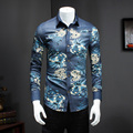Men Shirts Jeans 2017 Spring Camisa Social Slim Fit Men Shirt Korean Slim Fit Long Sleeve Denim Floral Casual Men's Shirt 5XL-M