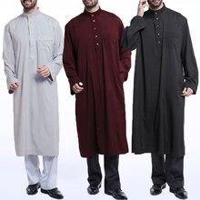 INCERUN Men Jubba Thobe Robe Kaftan Dress Long Sleeve Muslim Islamic Clothing Saudi Arab Mens