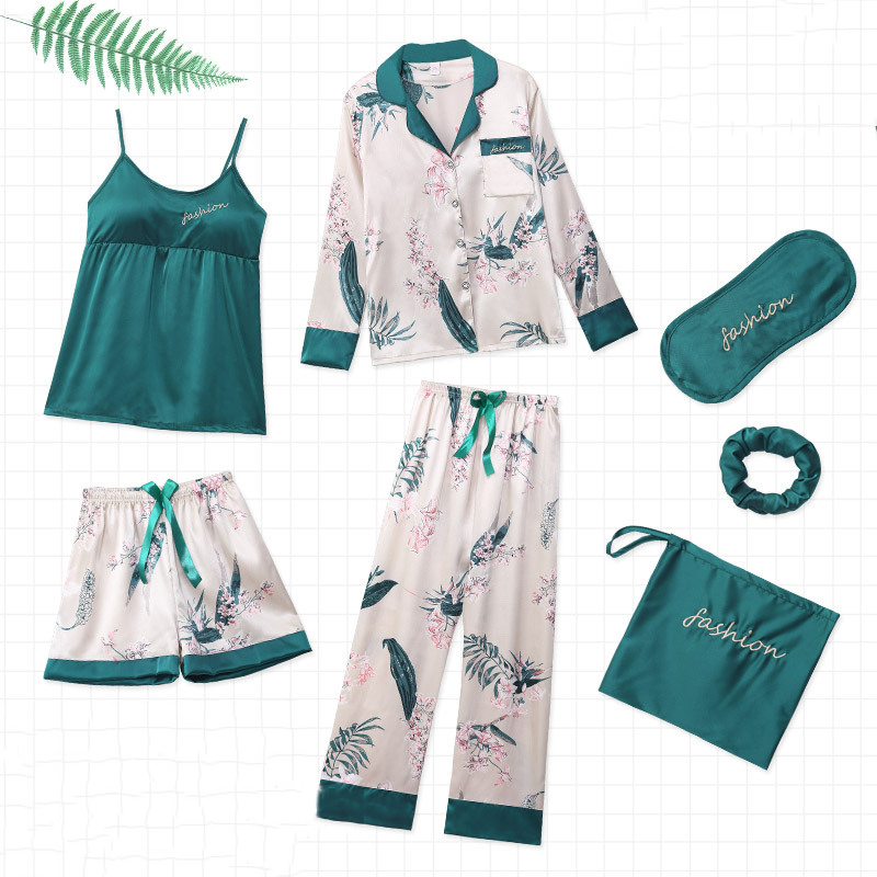 7 Pcs/lot Pajamas Sets For Women Emulation Silk Pajamas Women Print Sleepwear Sets Spring Summer Autumn Homewear #F