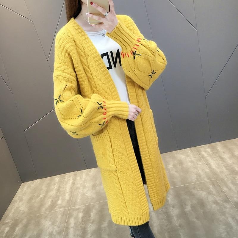2018 blue yellow Lâche Longue V Cardigan Pull Casual Femelle white Tricot Lanterne Femmes Manches Nouvelle Creamy Rayé Printemps Col Broderie pink rxwqCRAUr