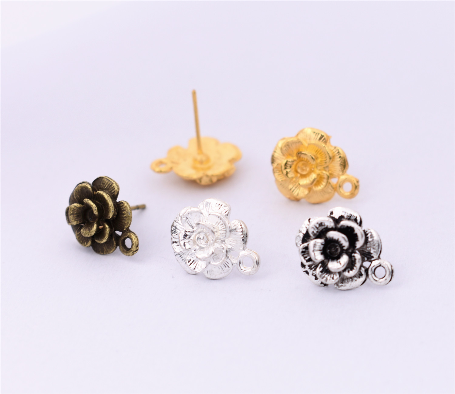 10pcs(5pair) 14x11mm 4 Colors Plated Alloy Material Flower Style Earrings Clasps Hooks Fittings DIY Jewelry Making Accessories