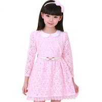 Casual Ruched Mesh Baby Grils Belt Dresses Clothes Long Sleeves Lace Cotton Kids Dress Vestidos Clothes