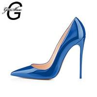 Elegant Women Dark Blue Patent Leather Pointy Evening Dress Pumps High Heels Ladies Party Shoes Plus Size 6 12