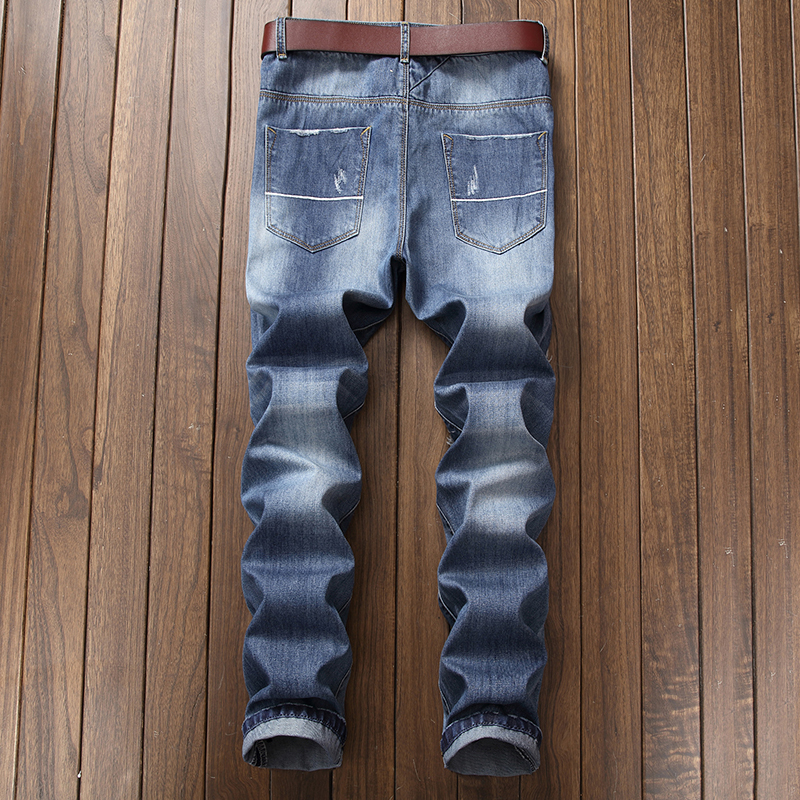 New Mens Jean Design Jeans Slim Stretch Straight Denim Pants Jeans Patch broken embroidery Mens Hole Men Jeans 8523