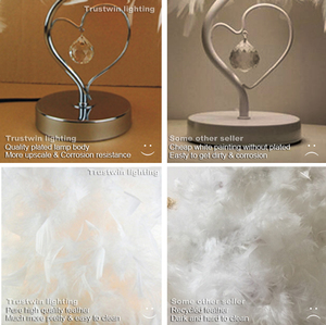 Image 5 - Bedside reading room foyer sitting room living heart shape white feather crystal table lamp light