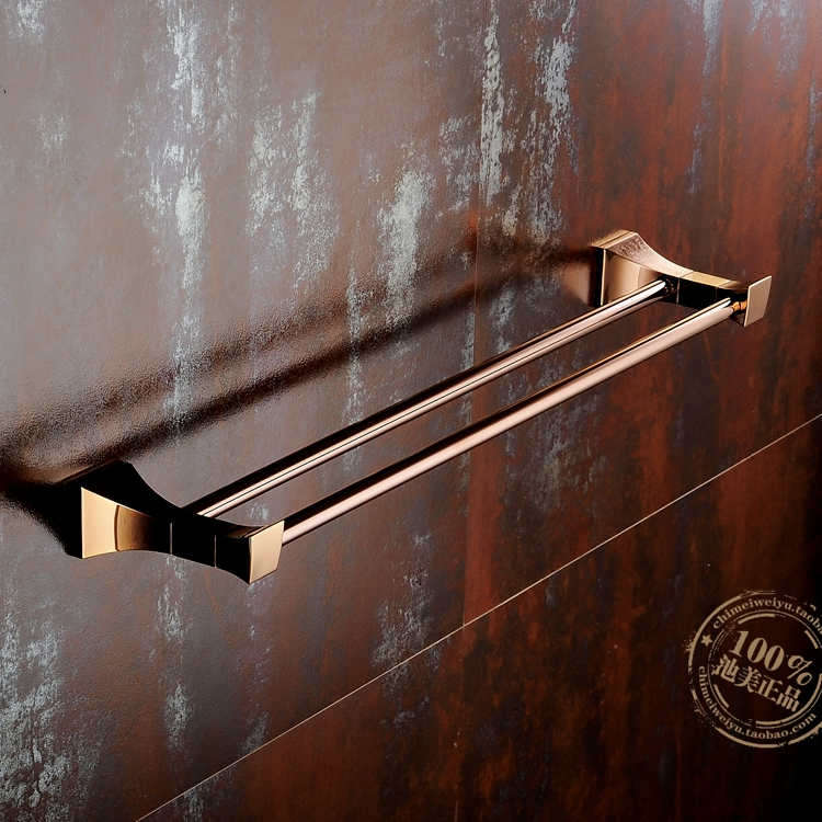 Copper Rose Gold Bathroom Hardware Suite Towel Rack Antique Gold Double Rod Bathroom Accessories YM095