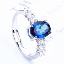 fashionable 925 sterling silver oval shape natural blue topaz gemstone ring for women