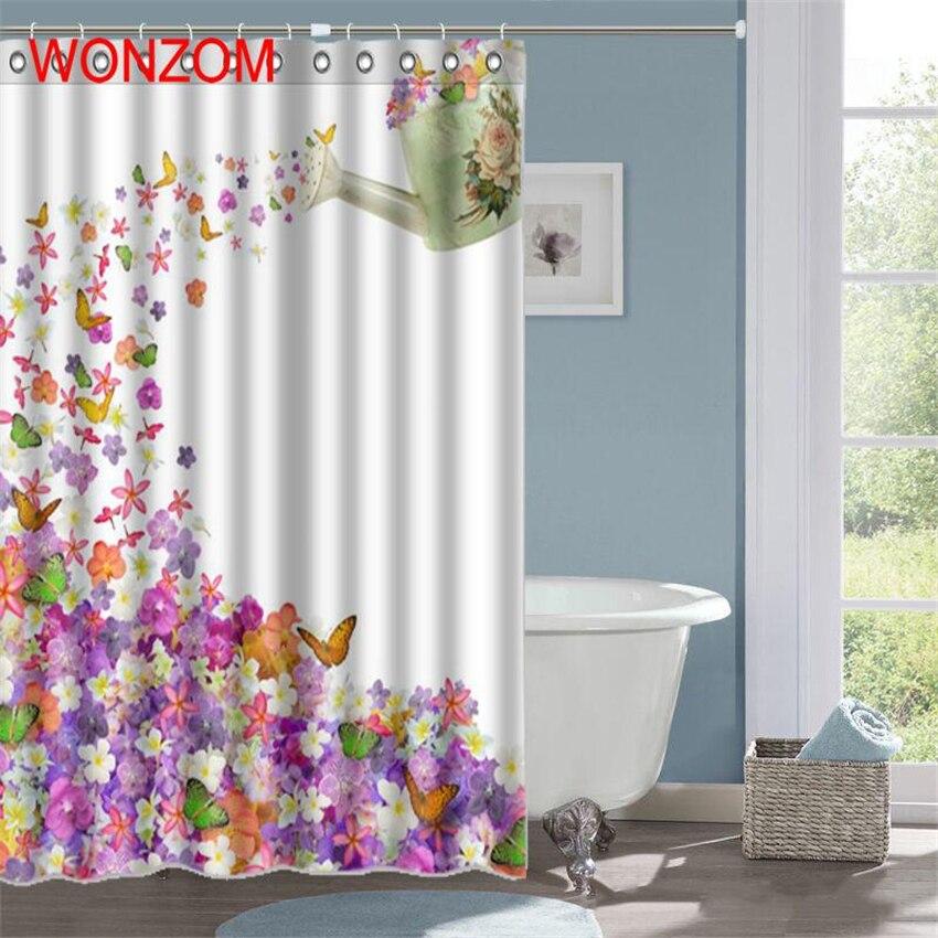 wonzom kettle flower butterfly shower curtain fabric