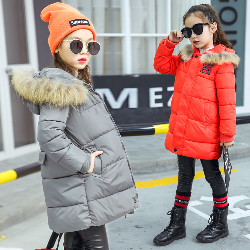 Girls White Duck Down Jackets Brand Winter Thicken Natural Fur Collar Hooded Children Down Coats Outerwear Overcoat Parkas 4-10Y winter down jacket for girls kids clothes children thicken coats duck down jackets girls hooded bow snowsuits natural fur coat