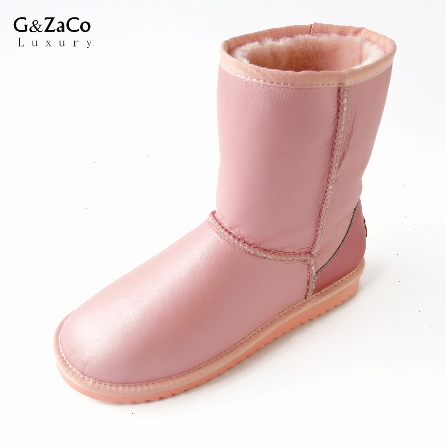 G&Zaco Luxury Sheepskin Boots Women Winter Snow Boots Middle Calf Boots Girl Warm Genuine Leather Natural Wool Sheep Fur Boots