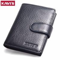 KAVIS Crazy Horse Leather Wallet Men Luxury Brand Short Male Clutch Leather Men Wallet Mens Money