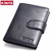 KAVIS 2017 New Slim Genuine Leather Mens Wallet Man Cowhide Cover Coin Purse Small Brand Male Credit&id Multifunctional Walets(China)
