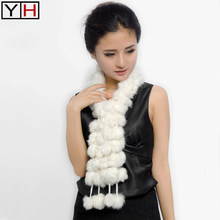 women scarf 100% real rabbit fur scarves lady casual winter spring autumn muffler natural fur neckerchief warm gift wholesale(China)