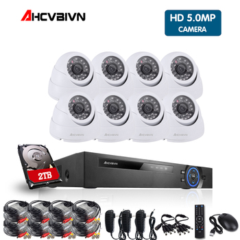 8CH CCTV Security Camera System HD 5MP AHD DVR 8PCS 4.0MP indoor Dome CCTV Camera System 8 Channel Video Surveillance Kit цена 2017
