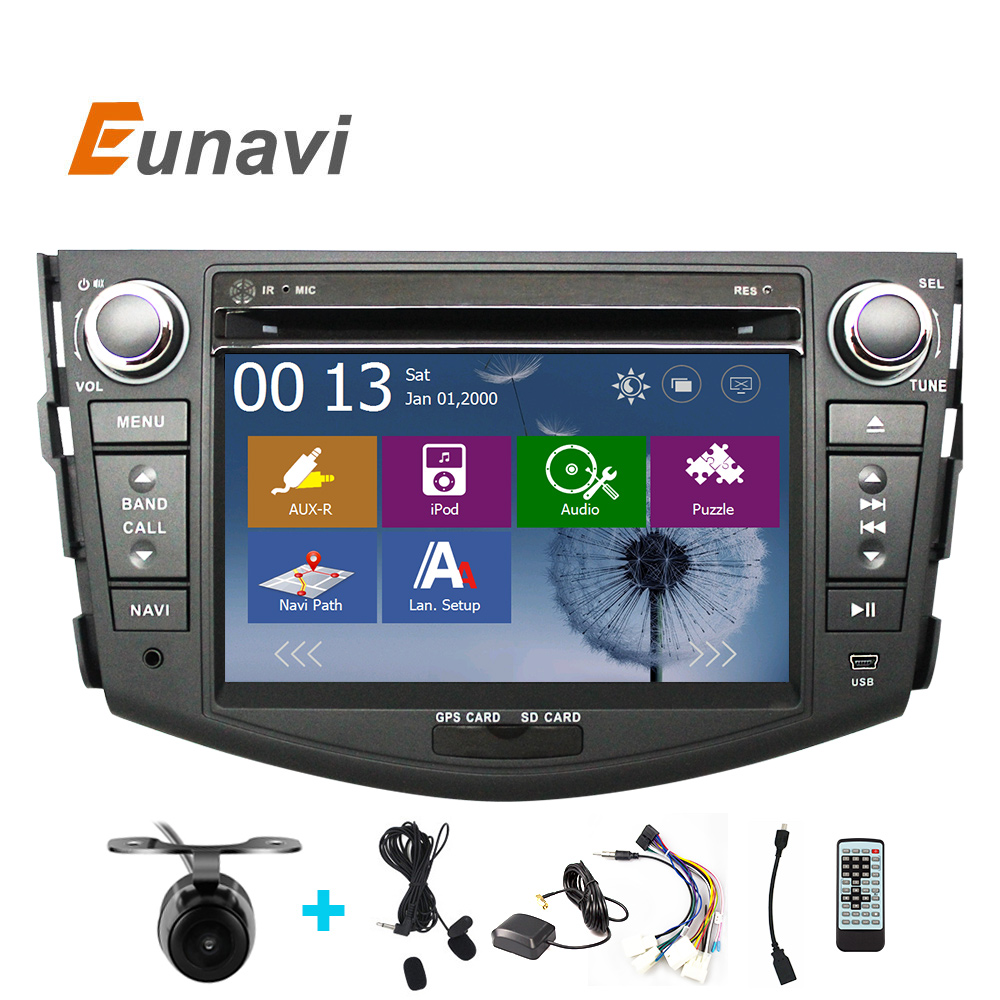 Eunavi 2 Din 7 Inch Car DVD Player For TOYOTA RAV4 2006 2007 2008 2009 2010 2011 With GPS Navigation BT Radio FM/AM RDS Maps DVR beautiful and pract fabric rear trunk security shield cargo cover black for toyota rav4 rav 4 2006 2007 2008 2009 2010 2011 20
