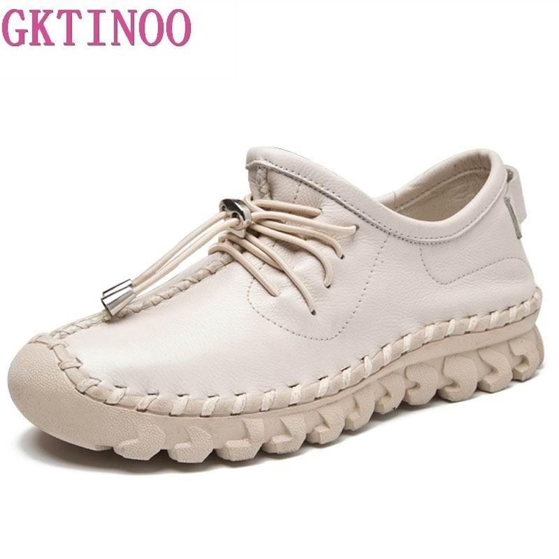 Женские лоферы GKTINOO, на плоской подошве, из натуральной кожи, со шнуровкой, на резиновой подошве Обувь без каблука      АлиЭкспресс