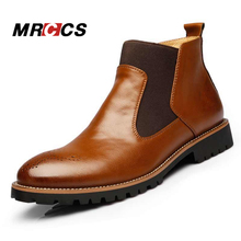 MRCCS Spring/Autumn Fashion Men's Chelsea Boots,British Style Fashion Ankle Boots,Black/Red Brogues Leather Casual Shoe