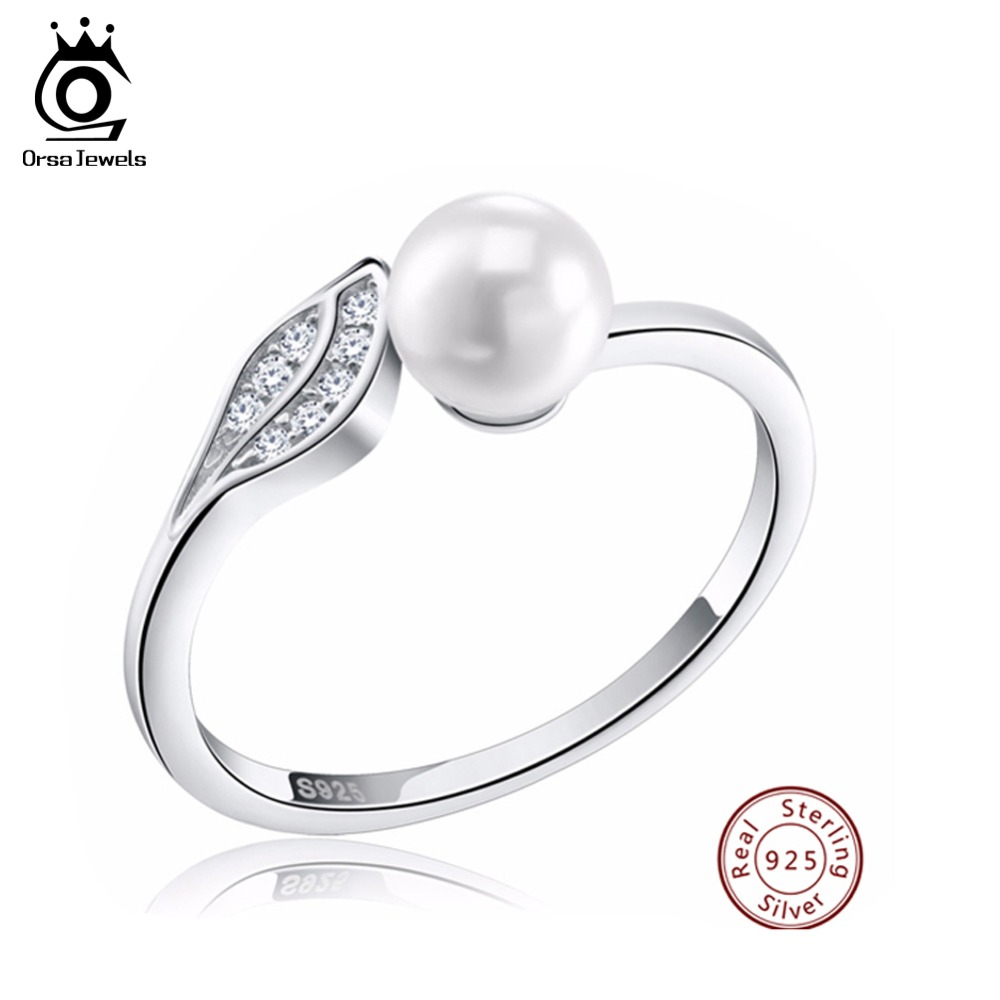 6f82a88fa ORSA JEWELS Silver 925 Leaf CZ Rings Reliable with Big Simulated Pearl Sterling  Silver Jewelry for Women SR16