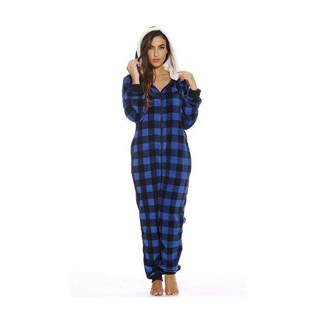 b5dba73642532 Centuryestar Christma Plaid Pyjama Onesie Chapeau À Capuchon Pijama Mujer  65% Coton 35% Flanelle Pyjama Hiver Femme Hiver Invierno 2018