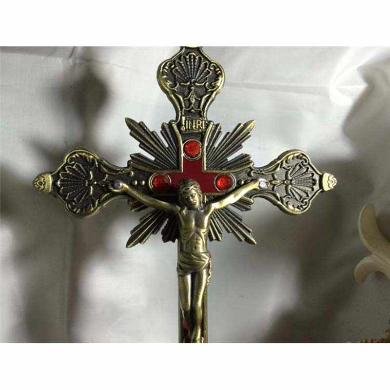 แนวตั้ง Baroque พระเยซูพระเยซู Kirsite จี้ Crucifix คาทอลิก Holy คริสเตียน Emmanuel Christ Jesu Cross Iesus ตัวเลข