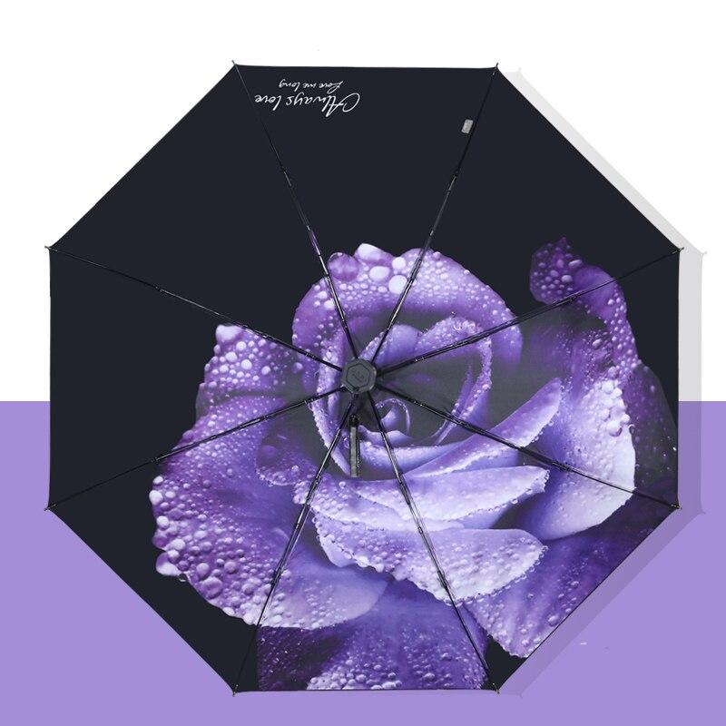 Femmes pliant fleur parapluie trois pliant personnalisé parapluie femme pluie outils Unique Parasol parapluie