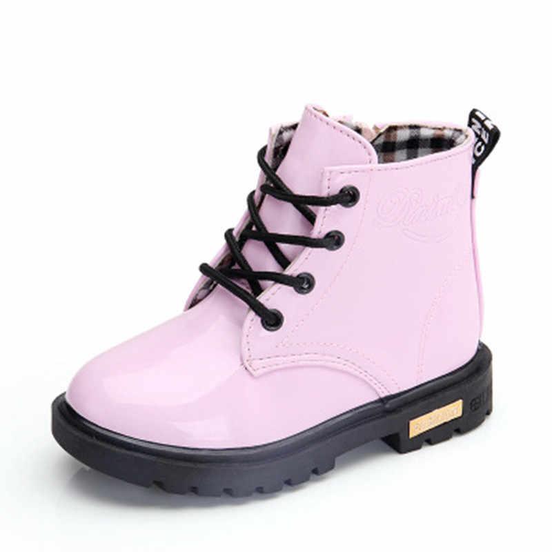 fb3926e77 ... Новинка 2019 г. обувь для девочек кожа ботинки для мальчиков обувь весна  осень из искусственной ...