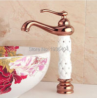 White Paint Golden Copper Taps Antique Rose basin faucet with diamond hot and cold deck mounte water faucet RS319
