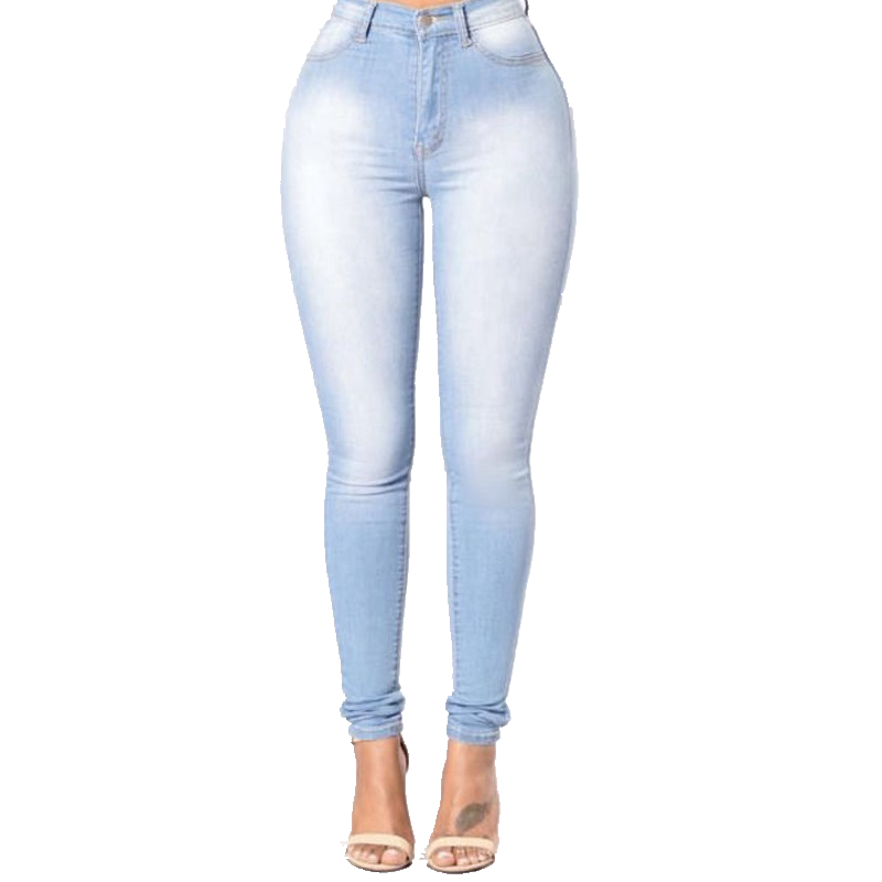 4101e942172 Hot Stylish Pure Sky Blue Women Jeans Ladies Slim High Waist Skinny Stretch  Pencil Denim Jeans Plus Size New-in Jeans from Women's Clothing on ...