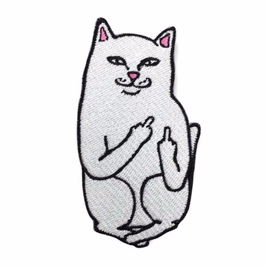1 st Roligt Mellanfinger Kattjärn på Patch för Jeans Broderad Applique Badge Söt Patch för Kläder Tyg Kläder DIY Decor