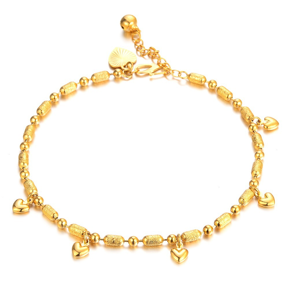 7SEAS Korean Fashion Gold Color Anklet Heart + Bell Pendant Ankle ...