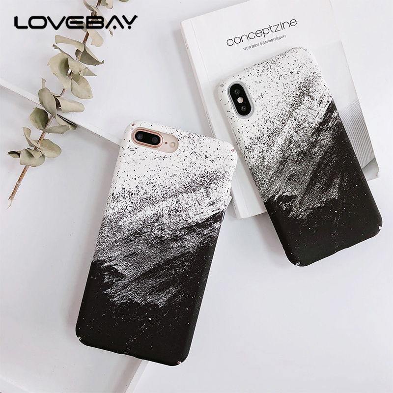 Lovebay Phone Case For Iphone 6 6S 7 8 Plus X Fashion Abstract Black White Graffiti Painted Hard PC Full Cover For Iphone 8 Case