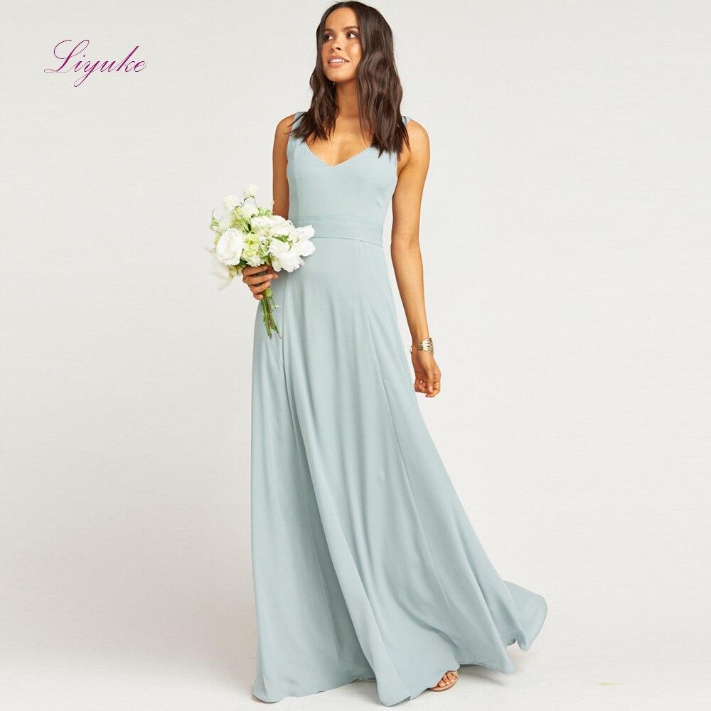 Liyuke A line   Bridesmaid     Dress   Long   Dress   Scalloped Neck Backless Bow Sashes Chiffon Simple Design Customized Free Shipping