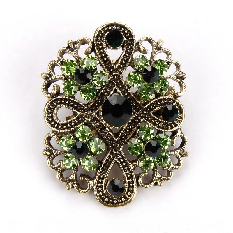 Fashion Gold Color Vintage Brooch Pins Female Brand: Baiduqiandu Antique Gold Color Plated Crystal Rhinestones