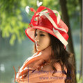 Бесплатная Доставка Горячей Продажи Моды и Новые Фантазии Красный Цвет Дамы шляпа Моды Sinamay Шляпа Женщин Шляпу Вс-Затенение Пляж Шляпа Летом