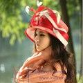 Envío Gratis Hot Venta de Moda y Nueva Señoras del Color Rojo de Lujo Sinamay sombrero de Moda Sombrero de Las Mujeres Del Sombrero Del Sol-Shading de Playa Sombrero de Verano
