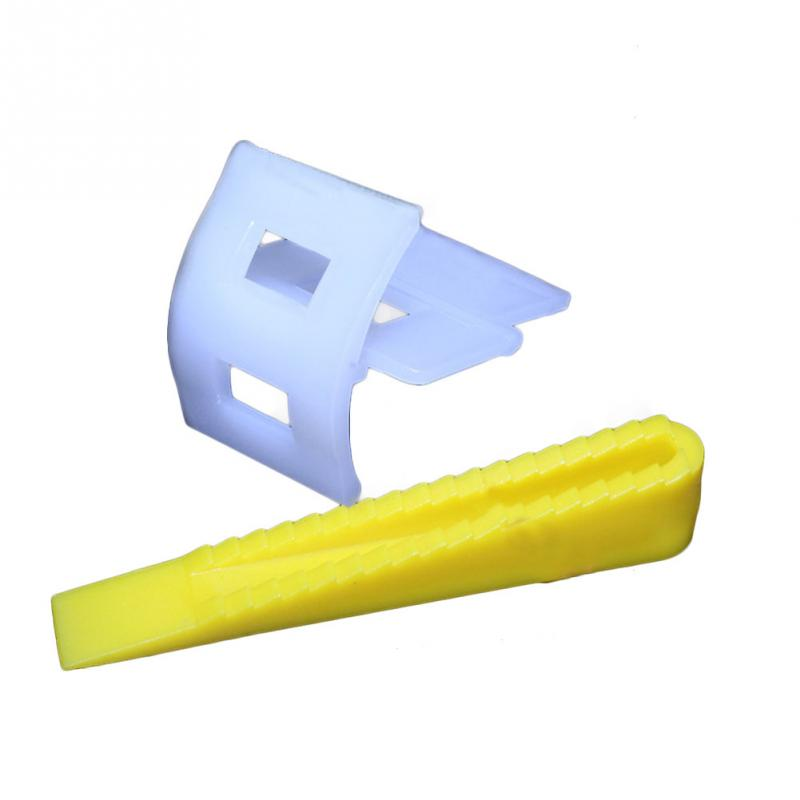 100pcs Tile Leveling System 50 Clips + 50 Wedges Tile Leveler Spacers For Tiling Tools White+Yellow