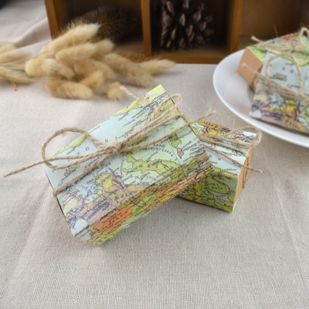 5pcs New World Map Printed Candy Gift Box Kraft Drawer Paper Boxes Wedding Birthday Party Favors Packaging Bag Supplies image
