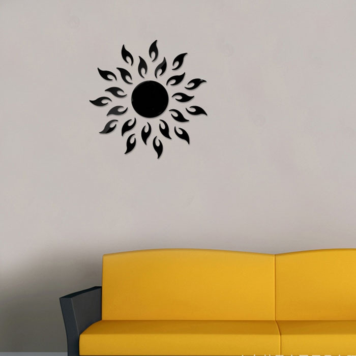 Sun flower Wall Sticker Home Decoration Cool DIY Mirror Wall Stickers Home Decoration Removable Vinyl Wall stickers Art Decals