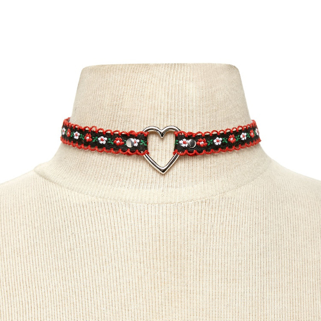 Newest fashion jewelry accessories red cloth with silver color heart shape choker necklace for couple lovers' N370 1