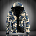 2016 Nova Camuflagem de Inverno dos homens Homens Jaqueta de Roupas de Algodão Com Capuz Zipper Masculino Casaco Com Bolsos