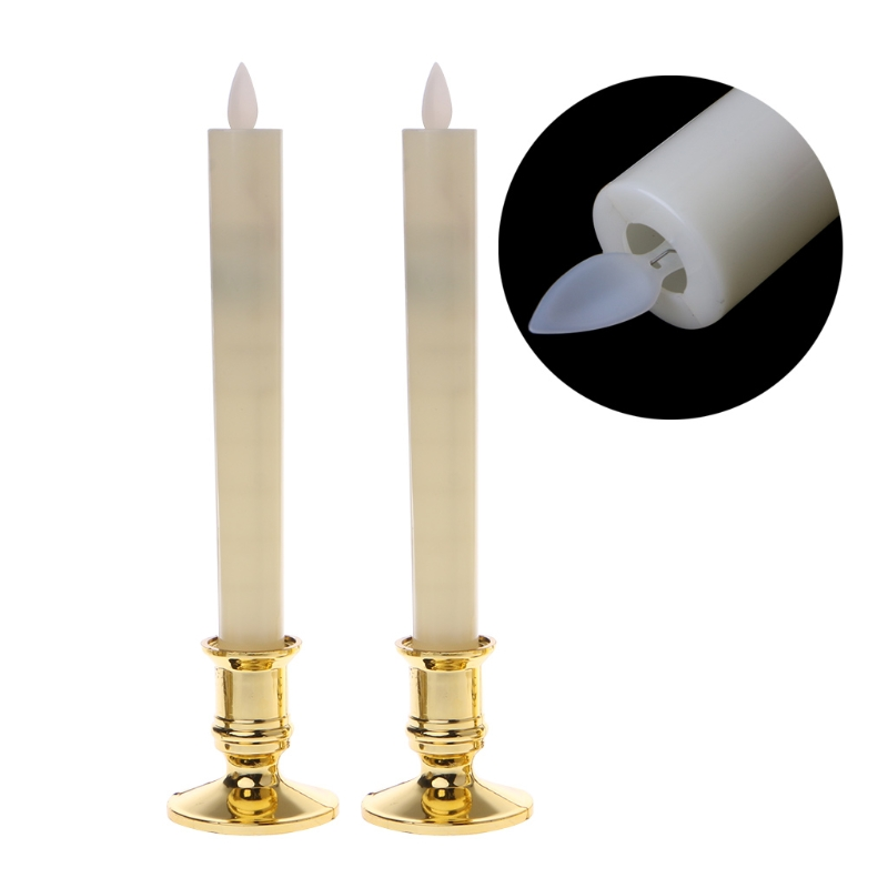 2Pcs/Set Electric Flickering Flameless Led Candle Lights With Removable Gold Base