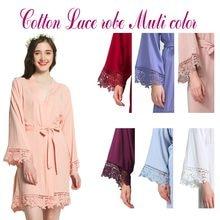 3e9f92494f New Solid Cotton Kimono Robes With Lace Trim Women Wedding Bridal Robe  Short Belt Bathrobe Sleepwear
