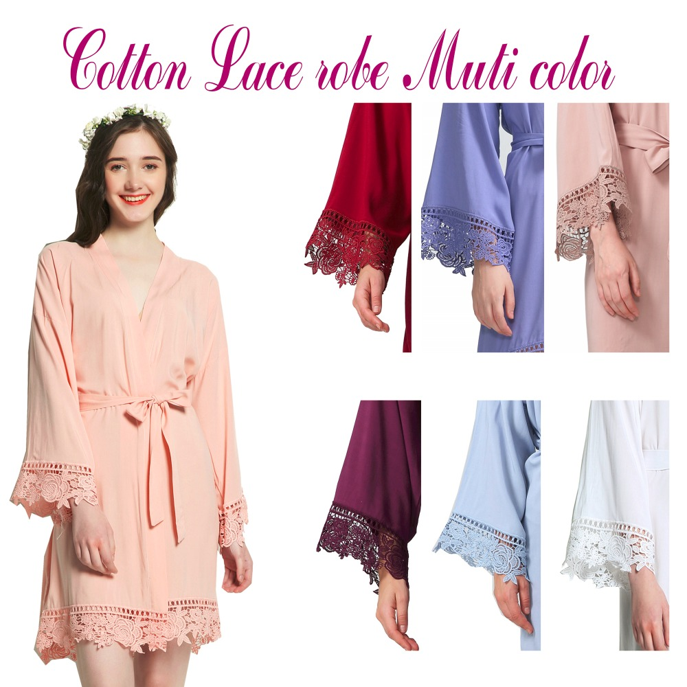 Cotton Bridesmaid Lace Robes With Trim Women Wedding Bridal Robe Short robes 002 ...