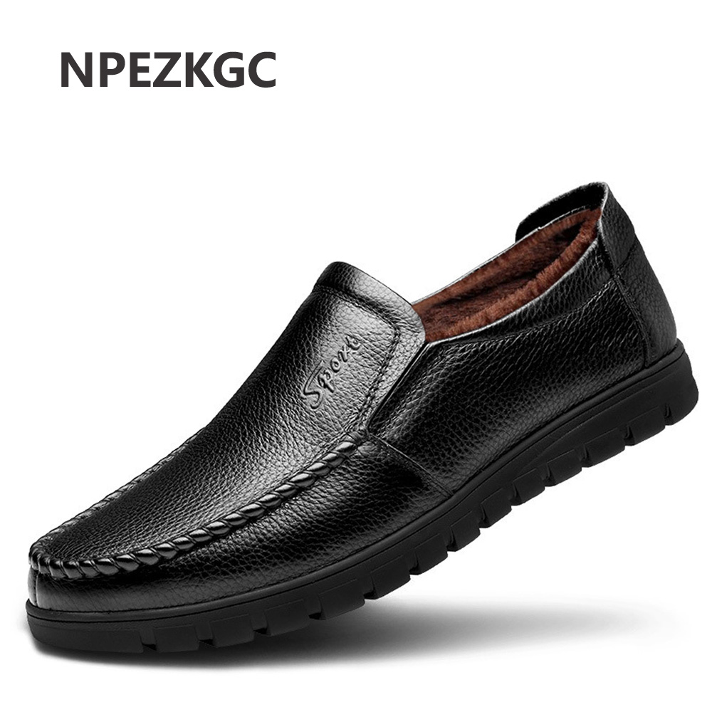 NPEZKGC 2018 Winter Shoes Men Flats Warm Fur Slip On Casual Men Shoes Winter Leather Shoes Mens Casual Shoes