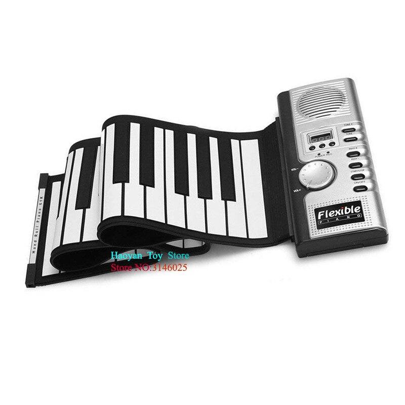 2018 Portable retroussable Piano 61 touches MIDI souple Silicone clavier main-roulant Piano numérique musique enfants enfants cadeaux